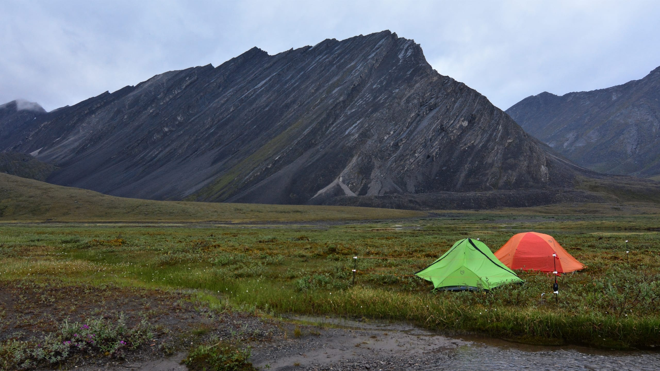 Camp below an unnamed mountain in Gates of the Arctic National Park. Central Brooks Range, Alaska