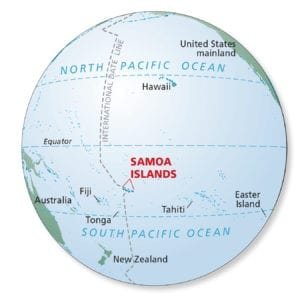 Figure 1: Location of the Samoan Islands in the Pacific