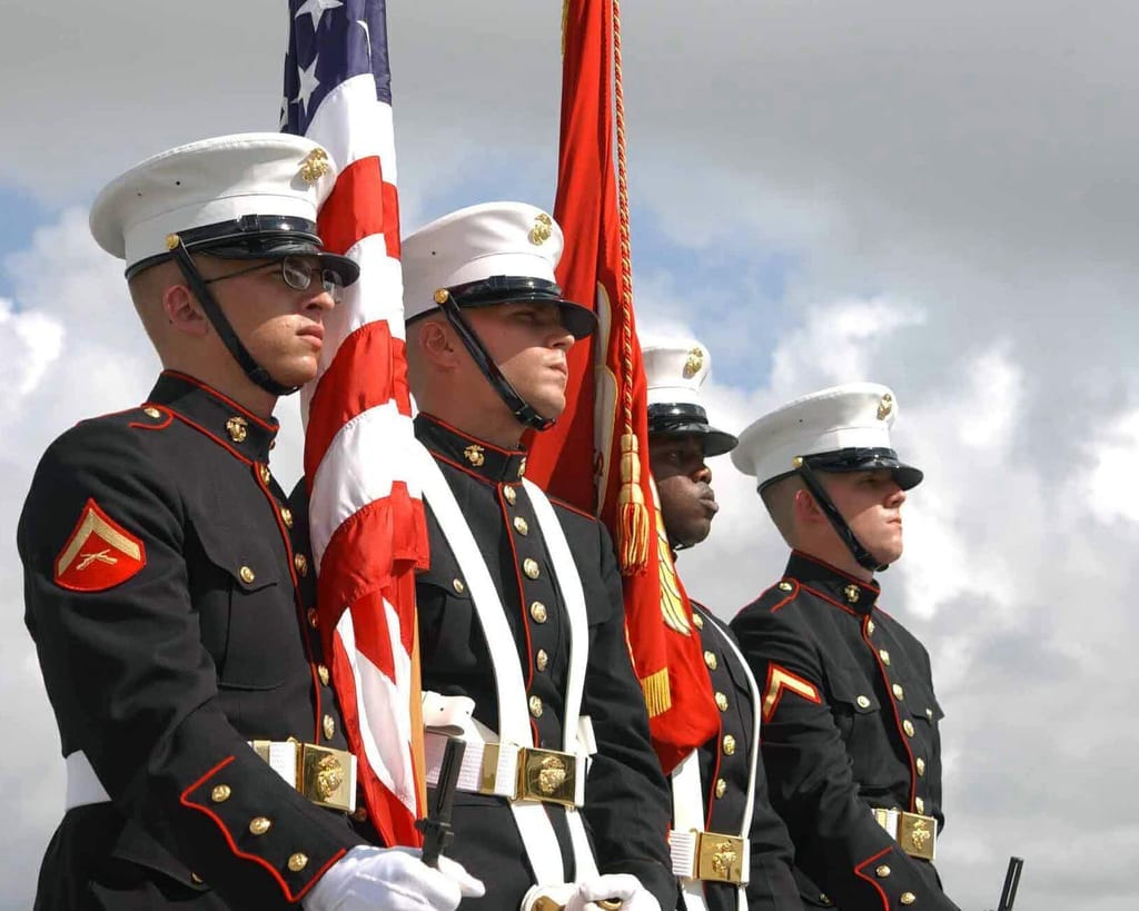 The Color Guard from Headquarters and Service Battalion, Marine Corps Recruit Depot Parris Island, South Carolina