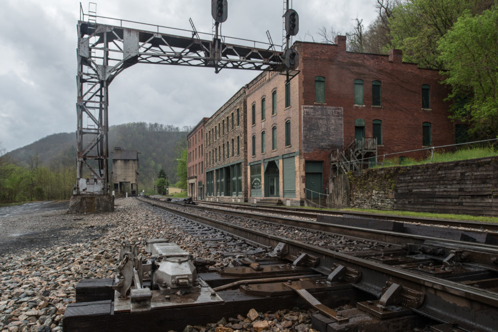 railroad tracks and old brick buildings