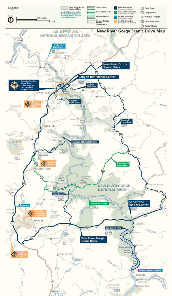 Map of the New River Gorge Scenic Drive
