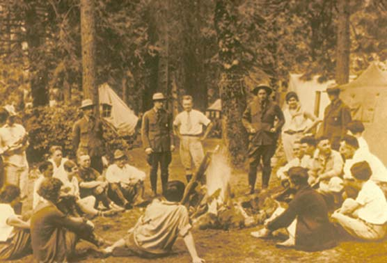Group of campers around a fire in Bryce Canyon National Park