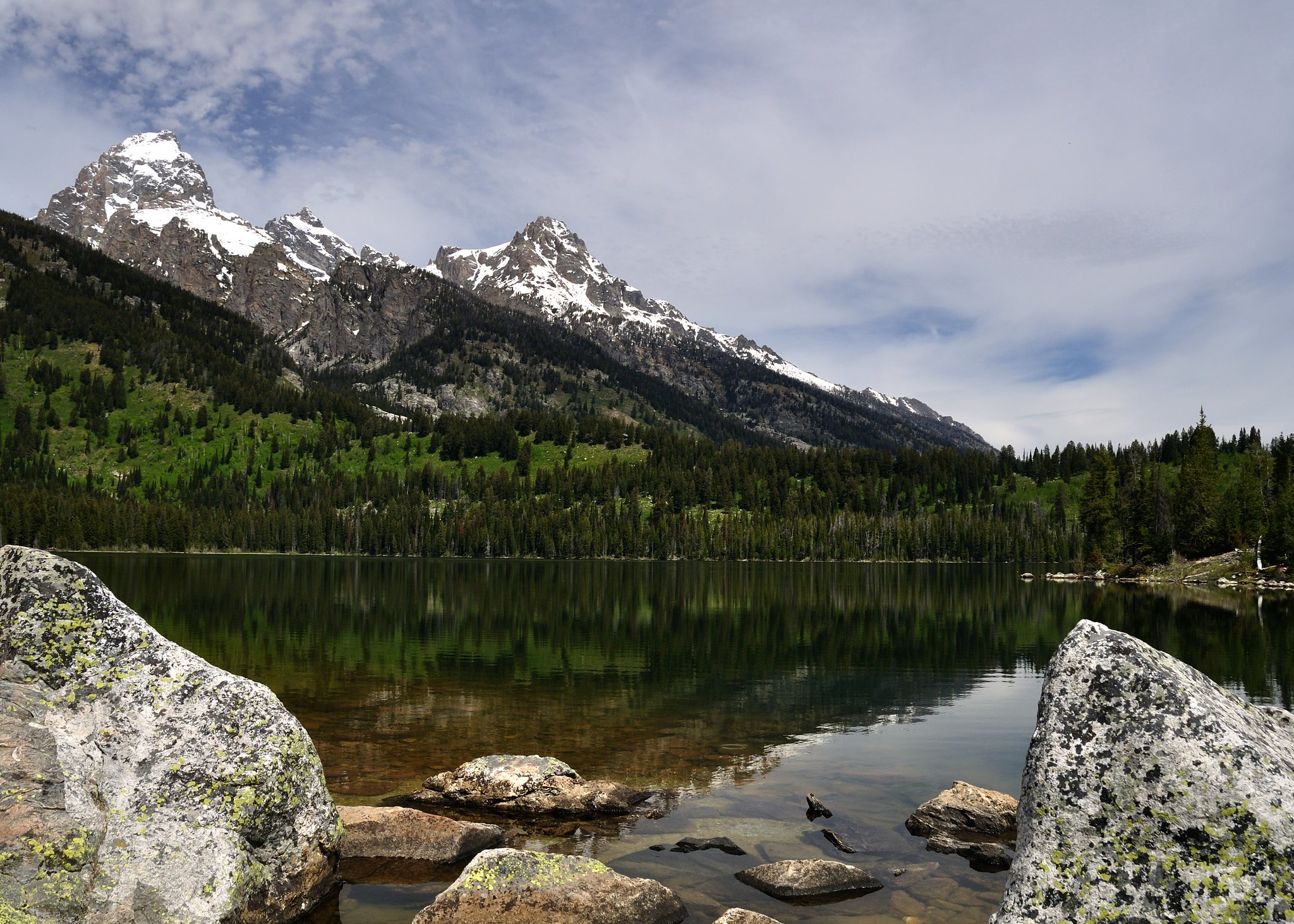 Taggart Lake with Mountain peaks in the background